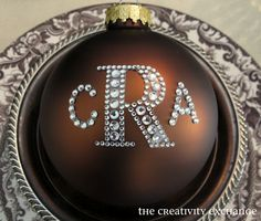 Easy monogrammed Christmas ornaments - use rhinestone letter stickers