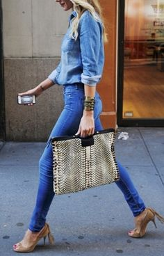 Denim outfit & over sized clutch-style bag
