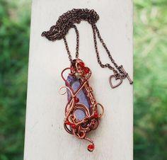 Beautiful Light Pink Agate Mystic Romantic Spiral Swirl Artisan Pendant Necklace #Jeanninehandmade #Pendant