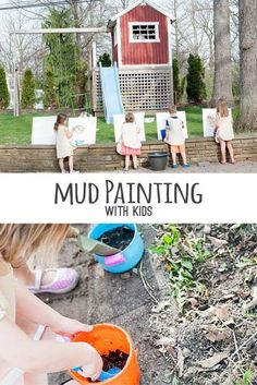 Easy and fun mud painting with kids. MS ELS for and VA 20 Art Activities For Toddlers, Painting Activities, Nature Activities, Outdoor Activities For Kids, Outdoor Learning, Motor Activities, Preschool Activities, Diy Mud Kitchen, Mud Paint