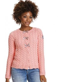 Cardigan lys coral 317M-530 Canal Cardigan - light coral