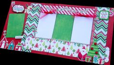 12x12 Scrapbook Page Holly Jolly Christmas Kit . DIY Kit or Pre-Made Double Page Layout. Christmas Scrapbook Layout. Christmas Page kit. Echo Park