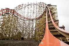 The biggest and fastest wooden roller coaster ever built just opened at Six Flags Great America amusement park in Gurnee, Ill.