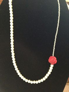 Red Rose Necklace by ACharmedDelight on Etsy, $20.00
