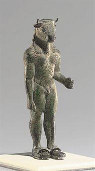 A Greek bronze minotaur, Achaic period, circa 520-500 B.C. Provenanced by and sold through Christie's Auction house, London, 2010