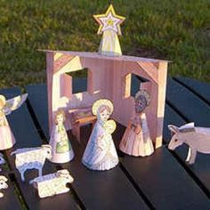 Printable Christmas Nativity kids crafts for children to color and cut-out.