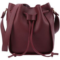 Embossed Faux Leather Drawstring Bucket Bag - Burgandy (58 BRL) ❤ liked on Polyvore featuring bags, handbags, shoulder bags, burgundy, shoulder handbags, vintage handbags, vintage bucket bag, vegan purses and vintage purses