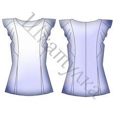 Выкройка женской блузки с воланами WT231117