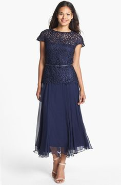 Tadashi Shoji Lace & Silk Chiffon Dress | Nordstrom