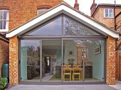 Gable end pitched roof extension. Aluminium sliding doors and top light glazing. House Extension Plans, House Extension Design, Roof Extension, Extension Ideas, Extension Google, Kitchen Patio Doors, Modern Patio Doors, Kitchen Cabinets, Sliding Door Design