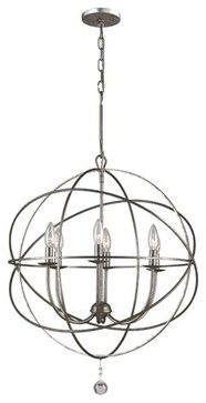 Chandelier over informal dining table - Solaris Olde Silver Six-Light Chandelier - contemporary - chandeliers - Bellacor  $398