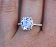 Sapphire Engagement Ring 14k Rose Gold 2.34ct Lavender Peach Cushion Sapphire Ring by EidelPrecious on Etsy https://www.etsy.com/listing/248950832/sapphire-engagement-ring-14k-rose-gold