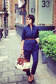 Mira Duma business chic in Stella McCartney suit, Casadei heels & Ralph Lauren bag #StreetStyle