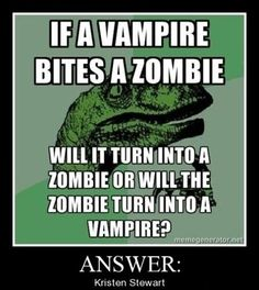 vampire or zombie? by samo - A Member of the Internet's Largest Humor Community Funny Quotes, Funny Memes, Hilarious, Silly Jokes, Qoutes, Vampire Bites, Picture Blog, Lol, T Rex