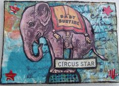 CIRCUS STAR Original Art Mixed Media Collage ACEO Venecia ELEPHANT Outsider  #OutsiderArt