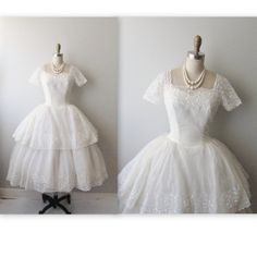 50s Wedding Dress // Vintage 1950s Embroidered by TheVintageStudio, $268.00