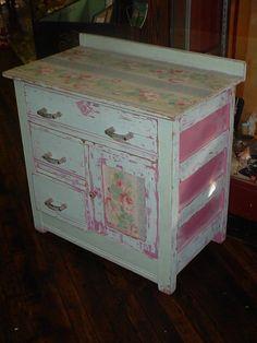 Antique Original Paint Dry Sink Cabinet