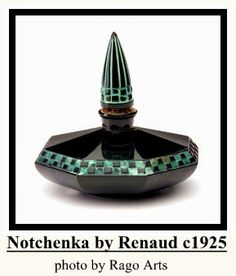 Notchenka by Renaud: launched in black glass w/ green patina, designed by Julien Viard. Black Perfume, Lovely Perfume, Best Perfume, Art Nouveau, Antique Perfume Bottles, Black Glass, Spray Bottle, Vintage Black, Boudoir