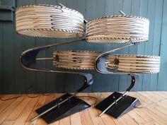 Pair 50`s Majestic Z Boomerang Lamp Fiberglass Shades Mid Century Atomic Retro | eBay