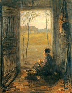 Israels, Jozef (Dutch, 1824-1911) - Woman peeling patatoes. View of the village Laren - 1905 | Flickr - Photo Sharing!