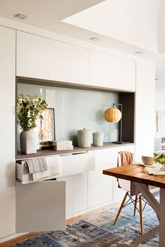 Instead of just a sideboard why not have a cabinet wall with an inset countertop in your dining area? Kitchen Interior, Kitchen Decor, Kitchen Design, Dining Cabinet, Muebles Living, Interior Decorating, Interior Design, Living Room Inspiration, Apartment Design