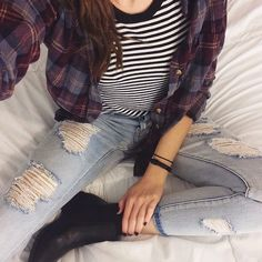 ❀ ripped jeans // black boots // flannel // striped tee ❀