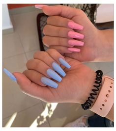 Baby Pink Nails Acrylic, Baby Blue Nails, Acrylic Nails Coffin Short, Purple Nails, Blue And White Nails, Edgy Nails, Swag Nails, Milky Nails, Acryl Nails