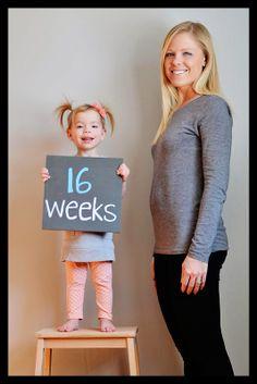 16 weeks, pregnancy tracker, chalkboard tracker