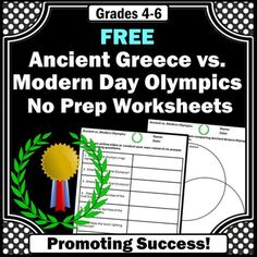 Winter:  Here are 8 FREE research questions, along with a Venn diagram, to help students compare Ancient Greece Olympic sports with modern day Olympics.  The questions may be answered through student research or an online video (link provided).  Answer keys are also provided. Teamwork Activities, History Activities, Teaching History, Free Activities, Homeschool Worksheets, 6th Grade Social Studies, Primary School Teacher, Report Writing, Study History