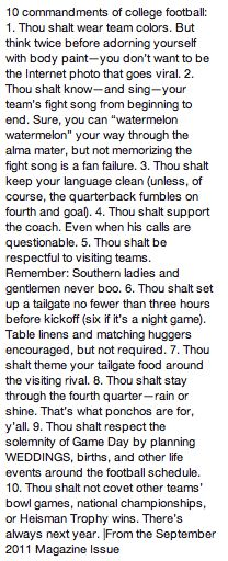 10 commandments of college football - even I caught on to most of these pretty quickly after moving down South