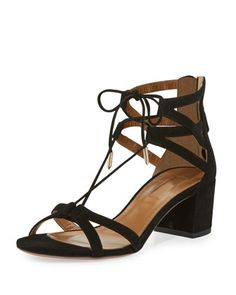 Aquazzura 'Beverly Hills' Suede Lace-Up Sandal, Black $695.00
