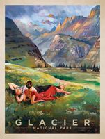 Ледник Национальный Парк Карта Поп-Арт Плакат Классический Урожай Ретро Крафт…