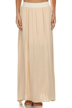 banded maxi skirt - cream | semi-sheer, full length maxi skirt with solid stretch waist band and short inner lining. perfect for a casual summer day! runs true to size. model is wearing a small. shell: 100% rayon. lining: 100% polyester | ELEVALE