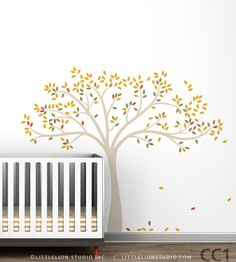 Tree Wall Decal Fall Tree by LeoLittleLion on Etsy