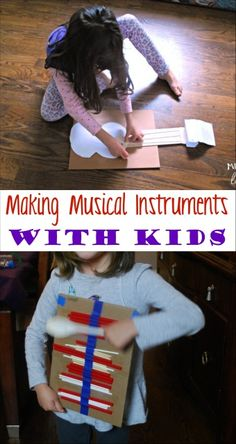 Making musical instruments with kids is easier than you think. They can use their instruments for pretend play or to form their own band. Creative Activities For Kids, Creative Curriculum, Indoor Activities For Kids, Preschool Activities, Preschool Music, Music Activities, Instrument Craft, Making Musical Instruments, Homemade Instruments