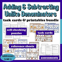 Task cards, reference sheets, self-checking puzzles, I Have...Who Has? cards, and assessment activities –all-in-one resource for adding and subtracting fractions and mixed numbers with unlike denominators. $