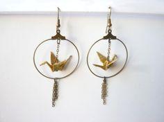 boucles d'oreilles origami grue ocre et cercle bronze