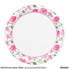 """Pink Flowers Paper Plates 9"""""""