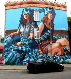 Montreal, Quebec - Street Art & Graffiti.  This is a fun work from the Australian artist Fintan Magee @fintan_magee - in the Mont Royal district of Montreal. This was part of 2017 Mural Fest which warrants a call-out of my friends at @station16gallery for being the leading sponsor. Station 16 is the rocking art gallery in the Mont Royal district that really pushes the ticket on street art and more!  Original Photography by R. Stowe
