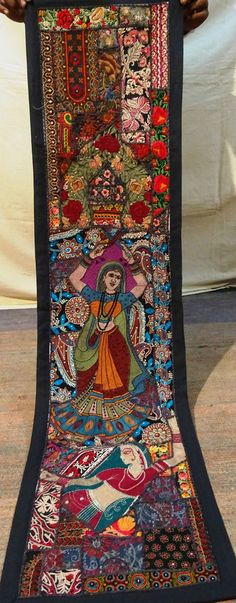 Wall Hanging Vintage Tapestry Antique Indian Handmade Embroidered Patchwork 25