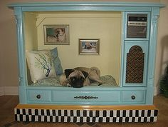 furniture for pets, painted furniture, pets animals, An old TV repurposed as a dog bed The family photos on the back wall are also a nice touch