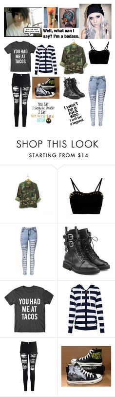 """Alex and Danni"" by emo-oreo-cookie ❤ liked on Polyvore featuring WithChic, Giuseppe Zanotti, Glamorous and Converse"