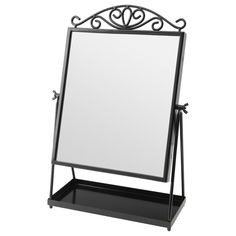 IKEA - KARMSUND, Table mirror, , The tray underneath the mirror keeps smaller items like jewelry and makeup in place.Choose the style of your mirror by deciding Ikea Bathroom Mirror, Wall Mirrors Ikea, Design Ikea, Floor Mirror, Table Mirror, Standing Mirror, Window Cleaner, Black Mirror, Galvanized Steel