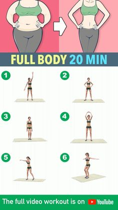 20 Minute Full Body Workout At Home - No Equipment - Here is a workout you can do at home during this quarantine period! This is a full-body exerc - Gym Workout Videos, Gym Workout For Beginners, Gym Workouts, At Home Workouts, Exercise At Home, Morning Ab Workouts, Daily Exercise Routines, Abs Workout Routines, Short Workout