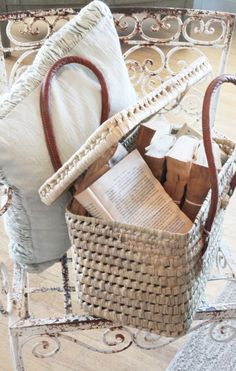 Lovely book basket for travel, the beach ...
