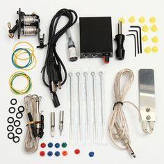 Professional Tattoo Equipment Machine Needles Power Supply Inks Kit Set