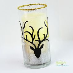 Handmade Holidays Blog Hop Glitzy Reindeer Candle Holder by Michelle Stewart