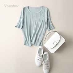 Yeeshan Blue Striped Knitting T-shirts Women O-Neck Half Sleeve Female T-shirt Ramie Tumblr Crop Tops Short Summer Top 2017