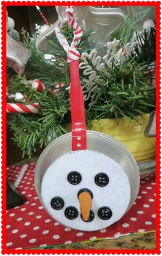 Toy Frying Pan Snowman Ornie...for Christmas in the Kitchen Exchange.