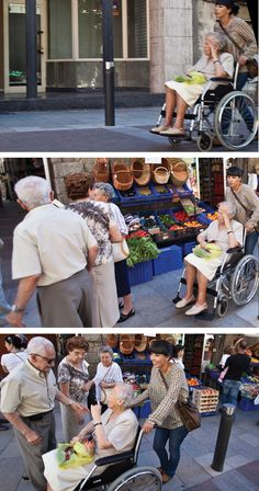 A car-free town means elders can remain in their community. Wheeled into the plaza, head in hand, until they meet old friends. Suddenly they brighten, they connect, they are happy.